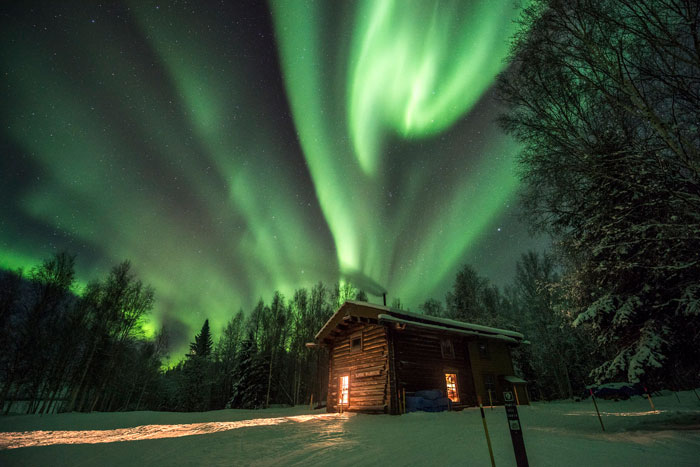 Cabaña bosque Aurora Boreal Islandia