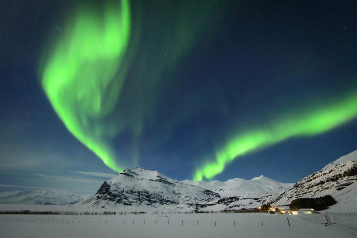 Aurora Boreal sobre Glaciares Islandia
